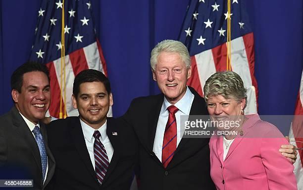 Former US President Bill Clinton poses with California politicians Pete Aguilar Mayor of Redlands Congressman Raul Ruiz and Congresswoman Julia...