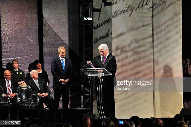 Former U.S. President Bill Clinton , presents former Prime Minister Tony Blair the 2010 Liberty Medal at the National Constitution Center September...