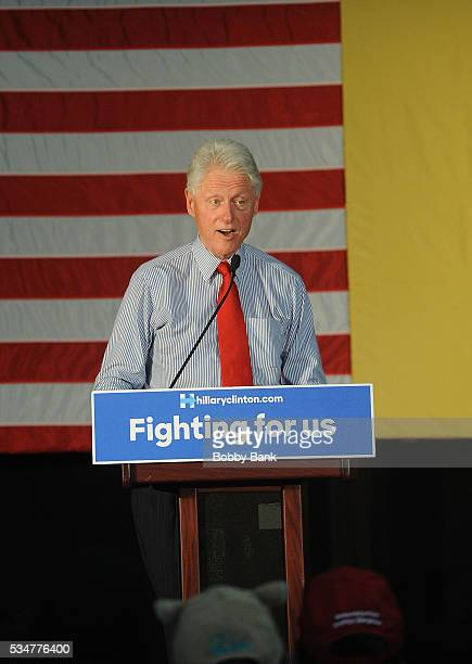 Former US president Bill Clinton rallies Hillary supporters at Edison High School on May 27 2016 in Edison New Jersey