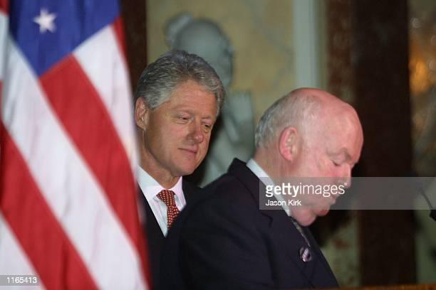 Former US President Bill Clinton receives the Lew Wasserman Spirit of Democracy Award from John Sweeney president of AFLCIO October 1 2001 in Beverly...