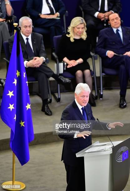 Former US President Bill Clinton speak during a memorial ceremony for former German Chancellor Helmut Kohl at the European Parliament on July 1 2017...