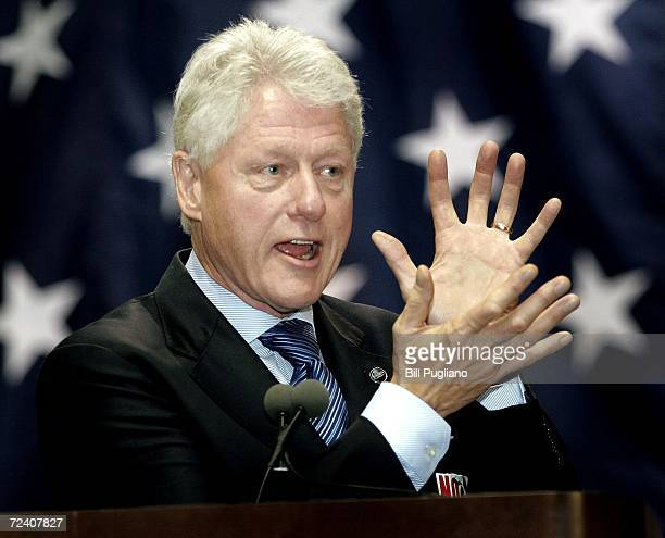 Former US President Bill Clinton speakes at a rally at Wayne State University to support Michigan democrats November 4 2006 in Detroit Michigan About...