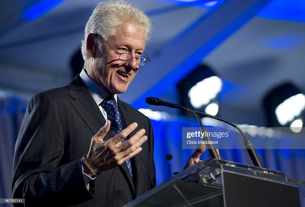 Former US President Bill Clinton speaks at a ceremony for the Holocaust Memorial Museum's 20th anniversary in Washington, DC.