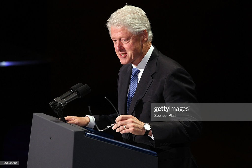 Former U.S. President Bill Clinton speaks at a tribute to the late television journalist Walter Cronkite on September 9, 2009 at Lincoln Center in New York City. Numerous dignitaries attended the morning memorial service for the former CBS anchorman who died in July.