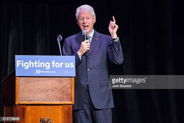Former US President Bill Clinton speaks at Ashe Power House Theater while campaigning for his wife Democratic presidential candidate Hillary Clinton...