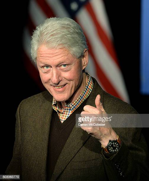 Former U.S. President Bill Clinton speaks at Exeter Town Hall January 4, 2016 in Exeter, New Hampshire. Bill Clinton spent the day campaigning for...