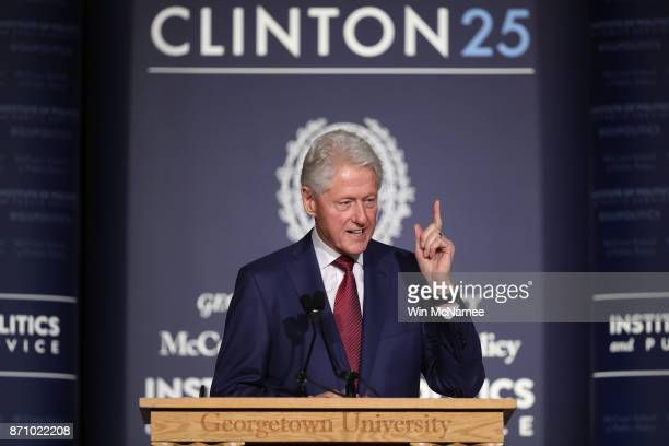 Former US President Bill Clinton speaks at Georgetown University's Gaston Hall November 6 2017 in Washington DC Clinton's speech marked the 25th...
