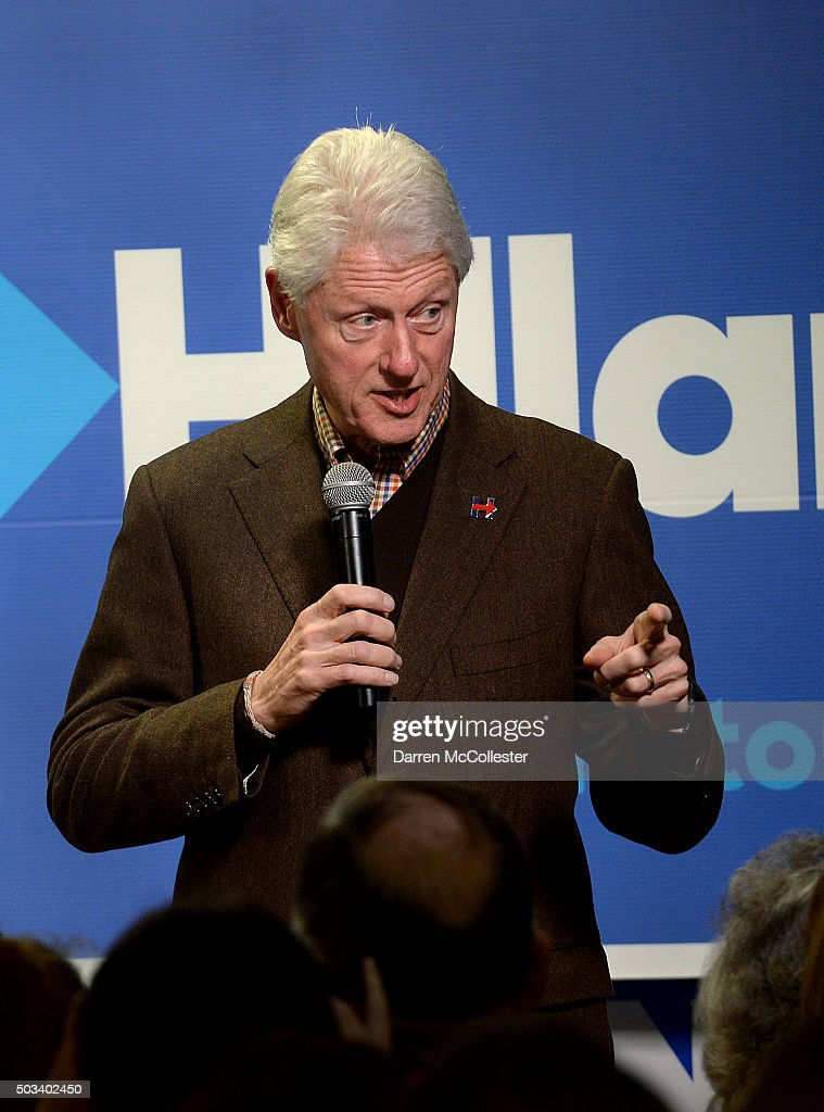 Former U.S. President Bill Clinton speaks at Hillary Clinton Dover headquarters January 4, 2016 in Dover, New Hampshire. Bill Clinton spent the day campaigning for his wife, Democratic presidential candidate Hillary Clinton.