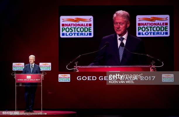 Former US president Bill Clinton speaks at the charity event 'Goed Geld Gala' in theater Carre in Amsterdam on February 6 2017 At the event the Dutch...