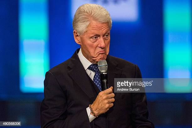 Former US President Bill Clinton speaks at the Clinton Global Initiative's closing session on September 29 2015 in New York City The Clinton Global...
