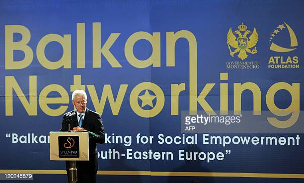 Former US President Bill Clinton speaks during a conference in the coastal town of Budva south of Podgorica on May 22 2011 Bill Clinton 42nd US...