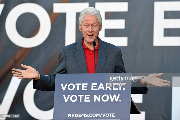 Former US President Bill Clinton speaks during a getoutthevote rally at the Springs Preserve on October 28 2014 in Las Vegas Nevada Clinton is...