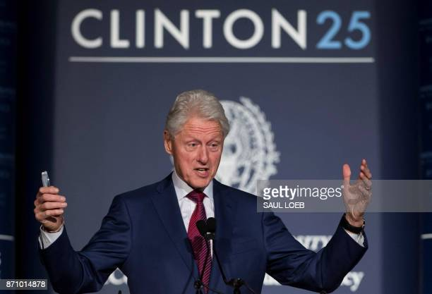 Former US President Bill Clinton speaks during Clinton 25 a 25th Anniversary Commemoration Event of Clinton's presidential election at Georgetown...