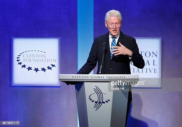Former US President Bill Clinton speaks during the 2016 Clinton Global Initiative Annual Meeting at Sheraton New York Times Square on September 19...