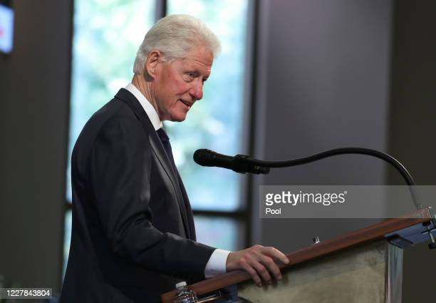 Former U.S. President Bill Clinton speaks during the funeral service of the late Rep. John Lewis at Ebenezer Baptist Church on July 30, 2020 in...