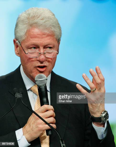 Former US President Bill Clinton speaks during the National Clean Energy Summit 20 at the Cox Pavilion at UNLV August 10 2009 in Las Vegas Nevada...
