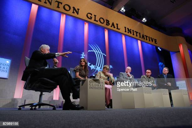Former US President Bill Clinton speaks during the opening session of the Clinton Global Initiative September 24 2008 in New York City Attending the...