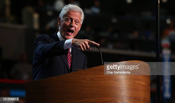 Former US President Bill Clinton speaks on stage during day two of the Democratic National Convention at Time Warner Cable Arena on September 5 2012...