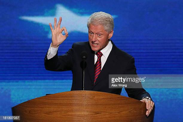 Former U.S. President Bill Clinton speaks on stage during day two of the Democratic National Convention at Time Warner Cable Arena on September 5,...