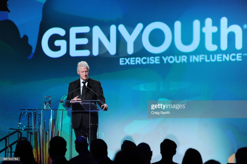 Former U.S. President Bill Clinton speaks on stage during the Second Annual GENYOUth Gala at Intrepid Sea-Air-Space Museum on December 6, 2017 in New York City.