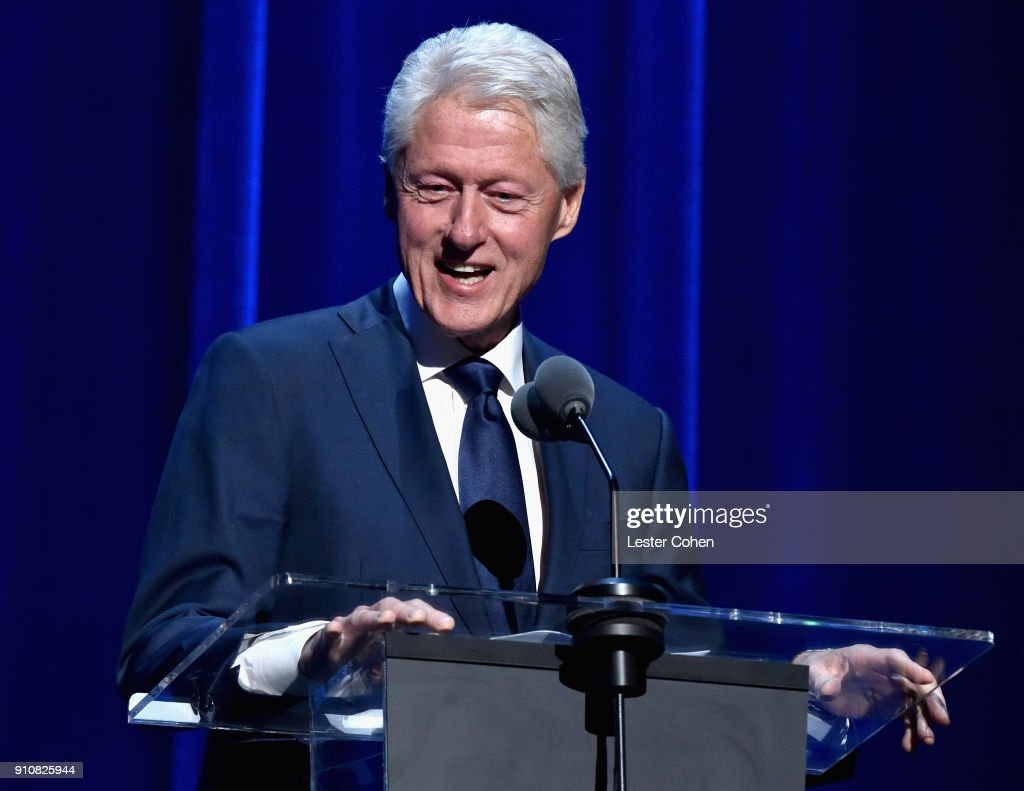 Former U.S. President Bill Clinton speaks onstage during MusiCares Person of the Year honoring Fleetwood Mac at Radio City Music Hall on January 26, 2018 in New York City.