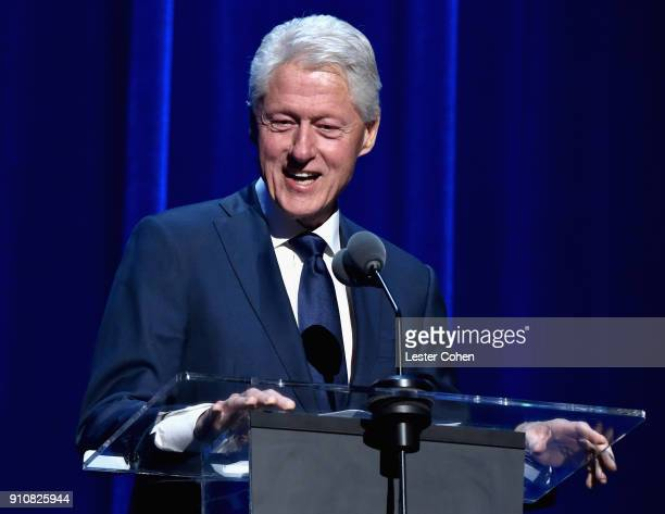 Former US President Bill Clinton speaks onstage during MusiCares Person of the Year honoring Fleetwood Mac at Radio City Music Hall on January 26...