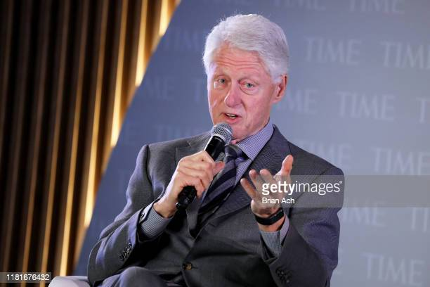 Former U.S. President Bill Clinton speaks onstage during the TIME 100 Health Summit at Pier 17 on October 17, 2019 in New York City.