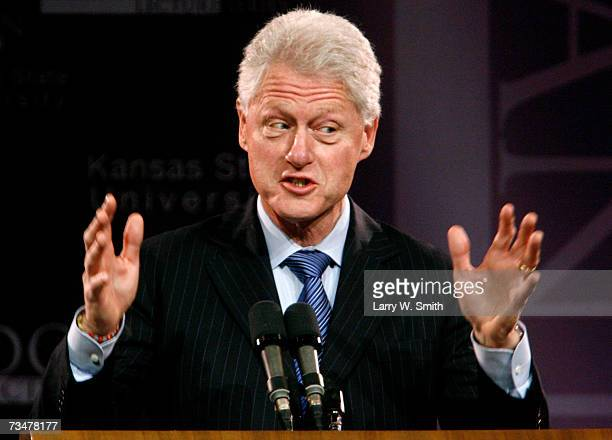 Former U.S. President Bill Clinton speaks to an audience at Kansas State University during the 148th Landon Lecture at Bramlage Coliseum on March 2,...