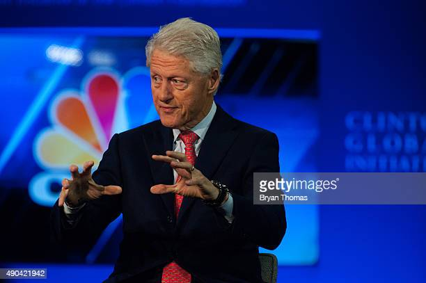 Former US President Bill Clinton speaks with CNBC's Becky Quick during the Clinton Global Initiative Annual Meeting at the Sheraton Hotel and Towers...