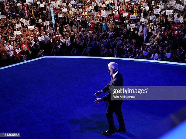 Former US President Bill Clinton takes the stage during day two of the Democratic National Convention at Time Warner Cable Arena on September 5 2012...