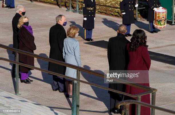 Former U.S. President Bill Clinton with wife, former Secretary of State, Hillary Clinton, former U.S. President George W. Bush with his wife Laura...