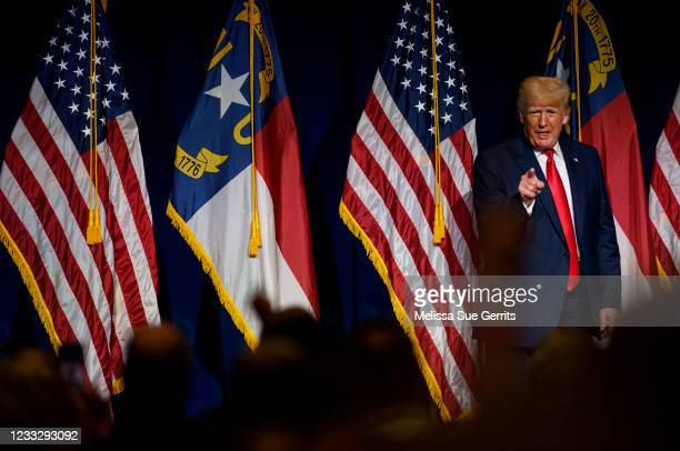 Former U.S. President Donald Trump addresses the NCGOP state convention on June 5, 2021 in Greenville, North Carolina. The event is one of former...