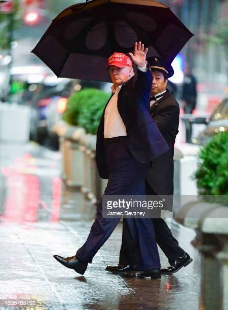 Former U.S. President Donald Trump arrives at Trump Tower in Manhattan on August 22, 2021 in New York City.