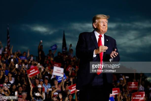 Former U.S. President Donald Trump arrives to hold a rally on July 3, 2021 in Sarasota, Florida. Co-sponsored by the Republican Party of Florida, the...