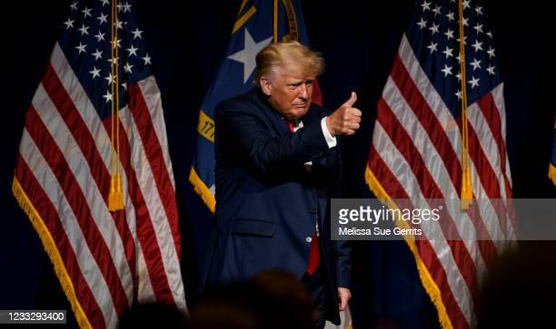 Former U.S. President Donald Trump exits the NCGOP state convention on June 5, 2021 in Greenville, North Carolina. The event is one of former U.S....