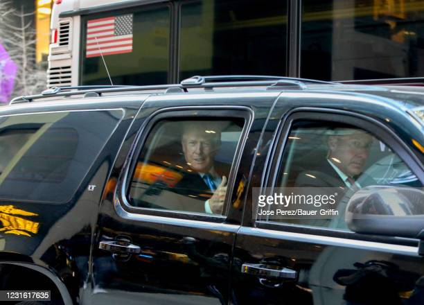 Former U.S. President Donald Trump is seen leaving Trump Tower on Fifth Avenue on March 09, 2021 in New York City.
