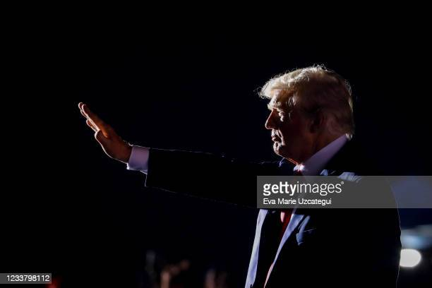 Former U.S. President Donald Trump leaves after a rally on July 3, 2021 in Sarasota, Florida. Co-sponsored by the Republican Party of Florida, the...