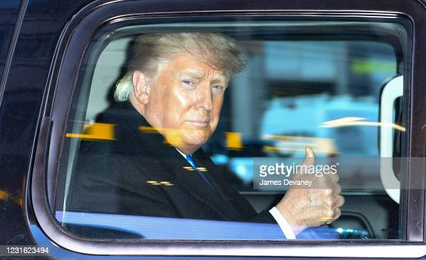 Former U.S. President Donald Trump leaves the Trump Tower in Manhattan on March 9, 2021 in New York City.