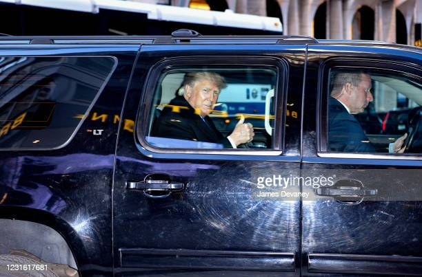 Former U.S. President Donald Trump leaves Trump Tower in Manhattan on March 9, 2021 in New York City.