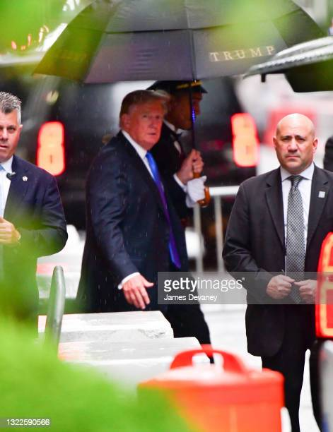 Former U.S. President Donald Trump leaves Trump Tower in Manhattan on June 08, 2021 in New York City.