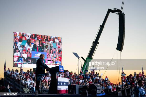 Former US President Donald Trump speaks at a rally on September 25, 2021 in Perry, Georgia. Republican Senate candidate Herschel Walker, Georgia...