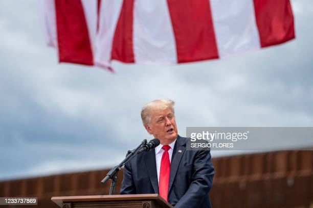 Former US President Donald Trump speaks during a visit to the border wall near Pharr, Texas on June 30, 2021. - Former President Donald Trump visited...
