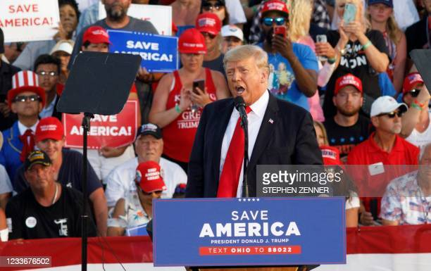 Former US President Donald Trump speaks during his campaign-style rally in Wellington, Ohio, on June 26, 2021. - Donald Trump held his first big...