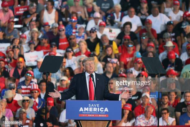 Former US President Donald Trump speaks to supporters during a rally at the Lorain County Fairgrounds on June 26, 2021 in Wellington, Ohio. Trump is...