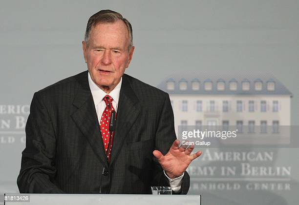 Former US President George Bush speaks after he received the 2008 Henry A Kissinger Prize at the American Academy on July 3 2008 in Berlin Germany