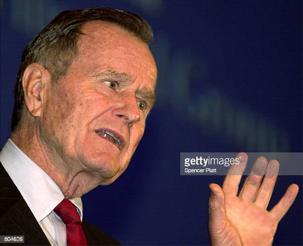 Former US President George Bush speaks at the 15th annual Insignia/ESG Market Forecast Breakfast April 20 2001 at a hotel in New York City Bush...