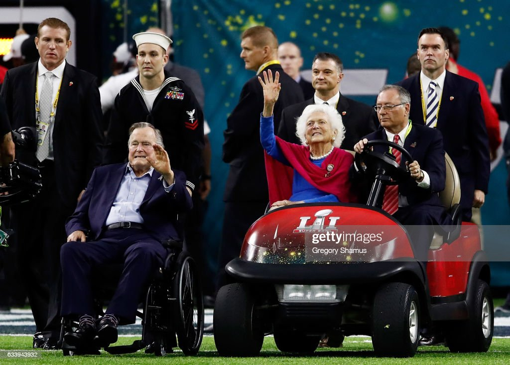 Former US President George H. W. Bush and former First Lady Barbara Bush are introduced prior to Super Bowl 51 between the New England Patriots and the Atlanta Falcons at NRG Stadium on February 5, 2017 in Houston, Texas.