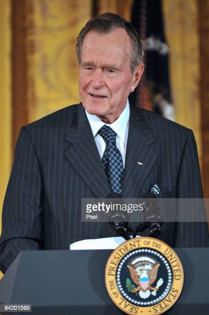 Former US President George H W Bush speaks during the reception in honor of the Points of Light Institute at the East Room of the White House January...