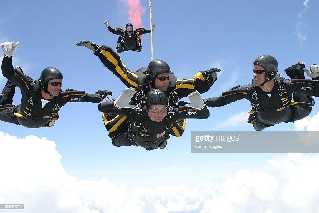 Former President Bush Celebrates 80th Birthday With Jump : News Photo