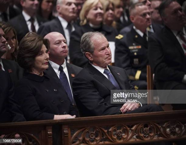 TOPSHOT Former US President George W Bush and former US First Lady Laura Bush attend the funeral service for former US president George H W Bush at...